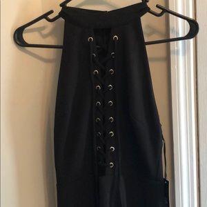 Lulus lace up black bodycon dress S